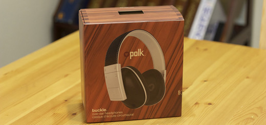 The box for Polk Audio's Buckle headphones.